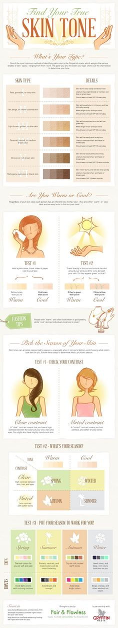 Skin care : How To Find Your Skin Tone ...... This infographic from fair and flawless shows you step by step how to find your skin tone. Once you've found it, you'll then be able to determine what colors look best on you, and which you'd be better steering clear of......Kur <3 <3