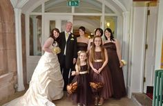 Bride, bridesmaids and father of the bride