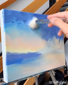 Canvas Painting Tutorials, Diy Canvas Art, Acrylic Painting Canvas, Painting Clouds, Painting Art, Canvas Painting Projects, Learn Painting, Painting Hacks, Simple Oil Painting