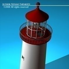Lighthouse 3D Model-   Lighthouse with interior.Only cinema4d R10 format has materials and lights.Polygons 32198Vertices 30542 - #3D_model #Landmarks