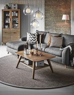Logan 3-sits soffa med schäslong i tyg Nysa brown från Mio.