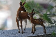 Needle Felted  Wool Animals-  mother-deer and a fawn- Soft sculpture-Collectible artist animals-needle felt by Daria Lvovsky-Made to order. $248.00, via Etsy.