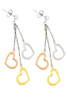 Tri Color Dangling Hearts Earrings