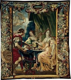 Cleopatra and Antony Enjoying Supper, c. 1680. After a design by Justus van Egmont (1601–1674). Woven at the workshop of Gerard Peemans (1637/39–1725). Flanders, Brussels. Wool and silk, slit and double interlocking tapestry weave. 321.9 x 362.0 cm (126 3/4 x 142 5/8 in.). Gift of Mrs. Chauncey McCormick and Mrs. Richard Ely Danielson, 1944.17