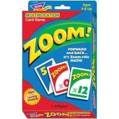 Multiplication and addition skills soar with this exciting card game. Players watch for wild cards that send scores zooming forward, backward, or stall a turn. 1 to 4 players. Includes 100 playing cards and instructions. Ideal for ages 9 and up. Math Card Games, Fun Math Games, Learning Games, Youth Games, Educational Games, Math Tutor, Teaching Math, Math Skills, Primary Teaching