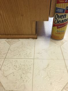 Cleaning linoleum floors. Oven cleaner with lye. Spray and let set for a minute or so.... Scrub (not hard) with a brush and wipe clean with wet rag.