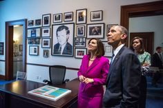 Vicki Kennedy shows President Barack Obama and First Lady Michelle Obama a replica of the Senate office of the late Senator Ted Kennedy during the dedication of the Edward M. Kennedy Institute for the United States Senate in Boston, Mass., March 30, 2015. (Official White House Photo by Pete Souza)