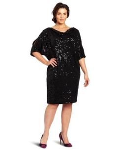 Jessica Howard Women's Plus Size 3/4 Sleeve Cold Shoulder Drape Neck Dress