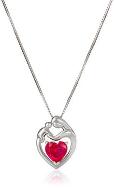 Sterling Silver Mother's Jewel Created Gemstone Heart Pendant Necklace, 18″  Sterling silver necklace featuring mother and child pendant with heart-shape gemstone centerpieceBox chain with spring-ring claspImported  http://dailydealfeeds.com/shop/sterling-silver-mothers-jewel-created-gemstone-heart-pendant-necklace-18/
