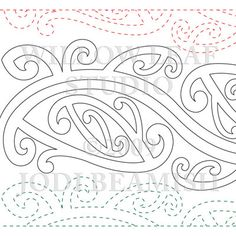 Description 1 row = 8 inches Ethnic design inspired by tribal Maori tattoos. This is the paper version of the pattern. Maori Patterns, Quilt Patterns, Quilting Designs, Embroidery Designs, Embroidery Supplies, Quilting Ideas, Maori Words, Maori Symbols, Polynesian Art