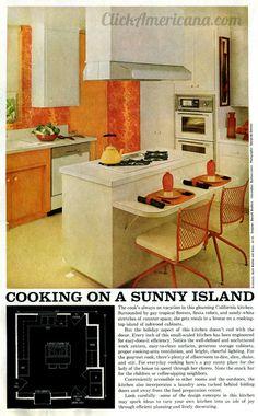 Cooking on a sunny island 1965 1960s Kitchen, Vintage Kitchen, Retro Vintage, First James Bond Movie, Kitchen Colour Schemes, Color Schemes, Fiesta Colors, Peach Orange, Yellow