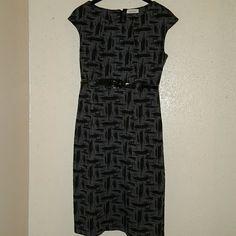 Calvin Klein knit dress Polyester Rayon Spandex knit dress with patten belt like new no tags Calvin Klein Dresses Midi