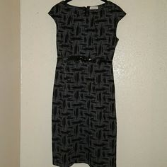 Calvin Klein knit dress Polyester Rayon Spandex knit dress with patten belt like new no tags Calvin Klein Dresses Midi