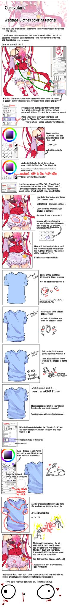 Wannabe Clothes Coloring Tutorial by Curryuku
