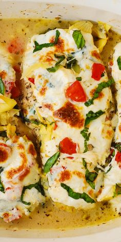 Tomato Basil Artichoke Baked Chicken breasts with melted mozzarella cheese. Healthy, Mediterranean dinner recipe - perfect for the Spring and Summer! Light, lean, packed with protein, and very satisfying! #healthy #glutenfree