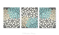 Blooming Dahlia Flower Bursts designed with Charcoal Gray Background and Rain, Cream &Tan Flowers - beautifully blended color tones. Would make a