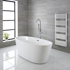 Milano Overton - 1800 x Modern Oval Double Ended Freestanding Bath Bathroom Shop, Family Bathroom, Dream Bathrooms, Wall Mounted Bath Taps, Freestanding Bath Taps, Modern Bathtub, Modern Bathroom, Countertop Basin, Ideas Hogar