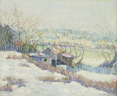 """""""Upper Harlem River,"""" Ernest Lawson, ca. 1915, oil on canvas, 16 x 20"""", Amon Carter Museum of American Art."""