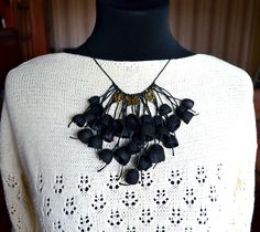 necklace natural silk cocoon, silk cocoons jewelry, black necklace, gothic, necklace silk cocoon, Boho chic - pinned by pin4etsy.com
