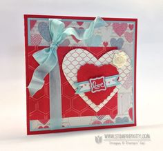 """Share the love with an adorable """"love"""" stamp from the Ciao, Baby! stamp set. - designed by Mary Fish, Independent Stampin' Up! Demonstrator.  Details, supply list and more card ideas on http://stampinpretty.com/2012/12/mojo-monday-card-with-love.html"""