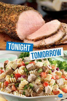 Pork Loin Roast tonight makes Rotini Pork Salad tomorrow- that's smart cooking! via Wisconsin Pork Association Pork Salad, How To Cook Pork, Pork Loin, Nutrition Information, Learn To Cook, Pork Recipes, Great Recipes, Main Dishes, Roast