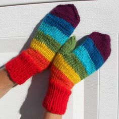 Hand Knit  MITTENS Rainbow Peruvian Wool Super by ATIdesign,