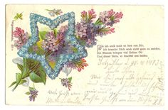 Blumen, Stern aus Vergißmeinnicht, Spruch, litho, 1903   eBay