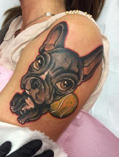 Super cute new school work by Silvia Brigatti. Dog Tattoos, Sleeve Tattoos, Puppy Tattoo, French Bulldog Tattoo, Best Dogs, Tatting, Puppies, Ink