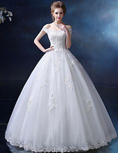 Ball Gown Wedding Dress - Ivory Floor-length Off-the-shoulder Satin / Tulle