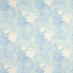Rose Hill Duck Egg Blue Floral Cotton Curtain Fabric