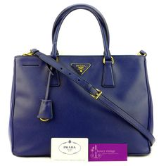 Prada Lux Bn2274 Blue Color Saffiano Leather With Gold Hardware Good Condition  Ref.code-(KTCT-1) More Information Pls Email  (- luxuryvintagekl@ gmail.com )