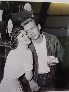 Natalie Wood and James Dean during the filming of Rebel Without a Cause, 1955