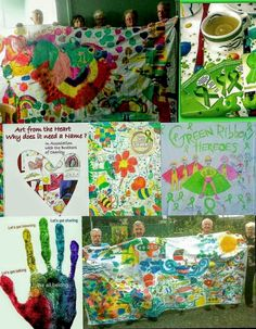Green Ribbon, Heart, Painting, Painting Art, Paintings, Drawings