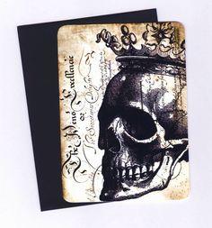 Halloween Cards   Skull   Vintage Skull with Crown by Bluebirdlane, $6.50