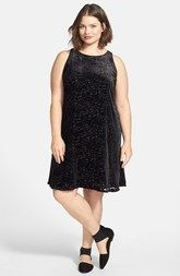 Do you love sleeveless dresses and want something sleek and slimming for the holidays? Take a look at this black, plus sized ballet neck dress, available at Nordstrom!  Request: Hide my belly  Eileen Fisher Ballet Neck Velvet Burnout A-Line Dress (Plus Size)