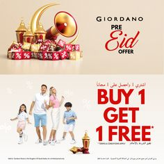 Shop early for Eid @ Giordano stores, FESTIVE ITEMS ON BUY 1 GET 1 FREE! Don't miss, for a limited period only! Got 1, Buy 1 Get 1, Eid, Festive, Highlights, Conditioner, Thing 1, How To Apply, Shop