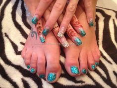 Eye Candy Nails & Training - Acrylic nails with turquoise glitter fade on fingers and twinkle toes by Nicola Senior on 23 November 2012 at Hockey Nails, Gel Nails, Acrylic Nails, One Stroke Nails, Gel Nail Extensions, 23 November, Mani Pedi, Twinkle Twinkle, You Nailed It