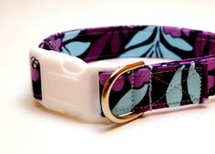 Adjustable Dog Collar - Purple Light Blue and Violet Floral - Large
