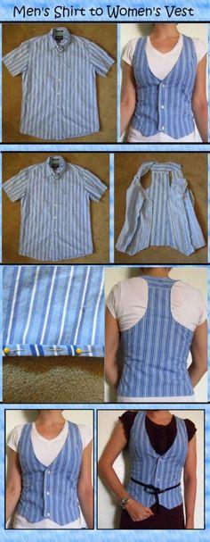 Männerhemd wird Damenweste