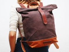 waxed Canvas Backpack,bronze  color, hand waxed , with handles, leather base and closures