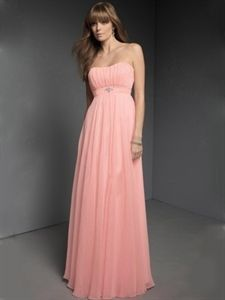 Pink Chiffon Bridesmaid Dresses, Long Pink Bridesmaid Dresses