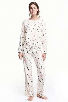 Fleece pyjamas - Natural white Stars - Ladies  99a8b4888