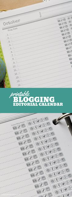 Printable Blogging Editorial Calendar Printable Weekly Planner with Fill in Sections. A5 size that fits into your purse!