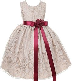 Little Girls Champagne Dress Lace Custom Ribbon Flowers Girls Dresses Champagne Champagne 4