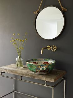 Adriana Basin - Decor A List Tired of White Bathroom Basins? Try Unique & Colourful Alternatives Bad Inspiration, Bathroom Inspiration, Interior Inspiration, Bathroom Basin, White Bathroom, Red Bathrooms, Small Bathroom, Bathroom Green, Brass Bathroom