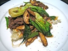 Garlic Beef and Shiitakes with Baby Bok Choy Recipe