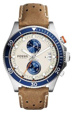 Fossil+'Wakefield'+Chronograph+Leather+Strap+Watch,+45mm+available+at+#Nordstrom