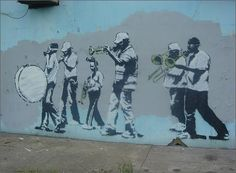 Banksy Musicians (Gas Mask Marching Band) Graffiti – New Orleans, USA Street Art Banksy, Banksy Graffiti, Banksy Artwork, Graffiti Piece, Bansky, Banksy Canvas Prints, Wall Art Prints, Urban Street Art, Street Artists