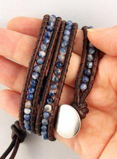 Brown Leather Beaded Wrap Bracelet Denim Blue by BelkysBracelets