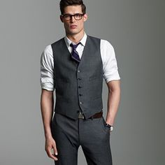 J Crew; suit vest in worsted wool from the Lanificio di Tollegno mill